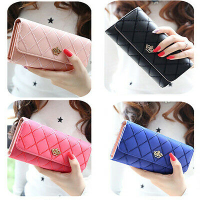 Fashion Long Women Clutch Bifold   Leather Wallet Card Holder Purse Handbag Bags