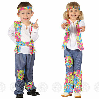 Hippy Girls /boys Toddler Fancy Dress Costume Hippie 1960S 60S 70S Outfit Childs