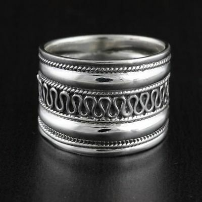 Womens Solid 925 Sterling Silver Vintage Style Bali Design Ring 15mm Width