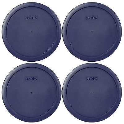 Pyrex Blue Plastic Round 6/7 Cup Storage Lid Cover 7402-PC 4 Pack for Glass Bowl