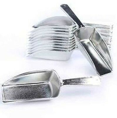 Metallic Silver Hard Acrylic Candy Buffet Scoops - Package of 12 for Wedding NEW