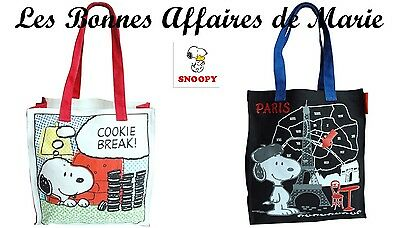 SNOOPY - PROMO -80% - Sac cabas canvas Cookie break blanc ou Paris noir - Neuf