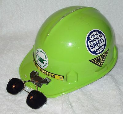 Vintage Fiberglass CMC Jackson Products Hard Hat w/ Suspension & Glasses_67CM