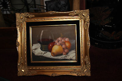 Superb Still Life Oil Painting On Canvas-Signed G Trani-Wine Glass Fruit Grapes
