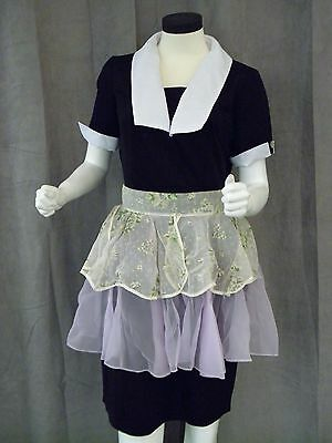 Vintage 1950s Maid Uniform - Black with White Removable Collars Pinup Sz 14