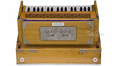 HARMONIUM No. 6001t|MAHARAJA|TEAK WOOD|FOLDING|COUPLER|2.75 OCTAVE|2 REED|EJG-02