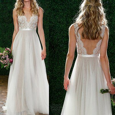 Women Lace Chiffon Long Formal Evening Party Prom Gown Cocktail Bridesmaid Dress