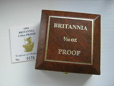 1992 Gold Proof Britannia £10 Boxed And Certificate Of Authenticity