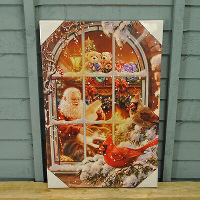 Christmas LED Canvas Picture Santa With Cat and Birds Pre Lit Decoration