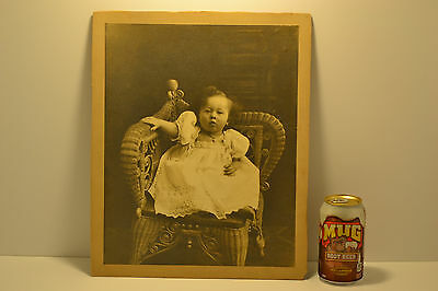 Rare Antique Large Rich Girl Child on Corner Chair CDV Style Mount Albumen Photo