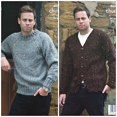 KNITTING PATTERN Mens Easy Knit Long Sleeve Jumper & Jacket Chunky KingCole 4034