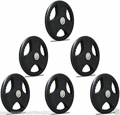 """2"""" TNP Rubber Encased Tri Grip OLYMPIC Barbell Weight Disc Plates Set range"""