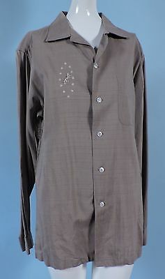 1950'S Men'S Dress Shirt W Embroidered Tiger By Alfred