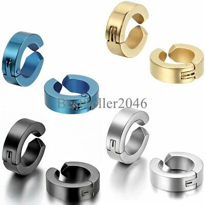 1-4 Pairs Stainless Steel Mens Womens Clip On Earrings Hoop Huggie Non-Piercing