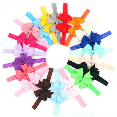 20 Pcs Newborn Toddler Girl Vintage Baby Headband Lot Elastic Hair bow Headdress