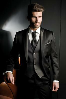 Black 3-piece Custom Groom Suit Groomsmen Tuxedo Business Best Men Wedding Suits