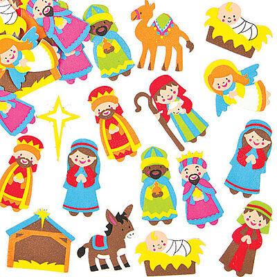 Nativity Foam Stickers for Children to Decorate Christmas Crafts (Pack of 96)