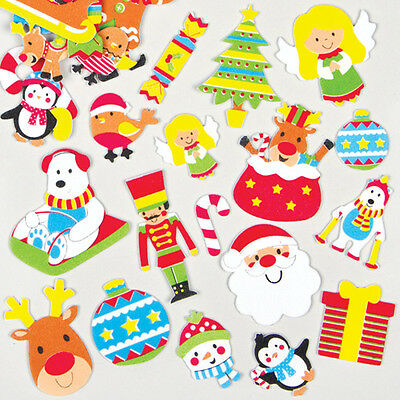 Christmas Foam Stickers for Children for Decorating Festive Cards (Pack of 100)