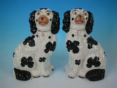 Pair Staffordshire Pottery Spaniels, No.2 size. Black & White