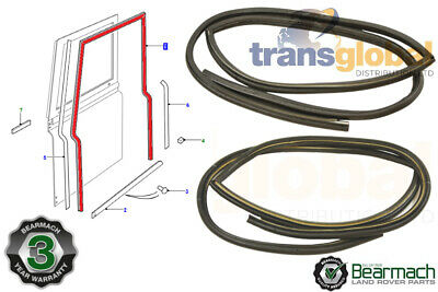 Pair Front Rubber LHS & RHS Door Weather Seals for Land Rover Defender Bearmach