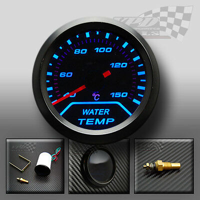 UNIVERSAL BLUE LED WATER TEMPRATURE GAUGE SMOKED DIALS FACE 52mm