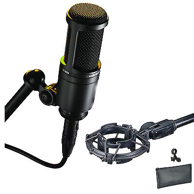 Audio Technica AT2020 Cardioid Condenser Microphon +AT8458 Mic Shock Mount Kit