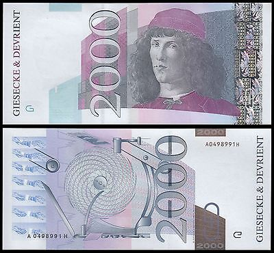 Giesecke & Devirent 2,000 (2000), UNC, Test Banknote, Germany