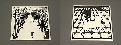"Vintage Pair of Black Cat Pictures White Hanging Art 6"" x 6"""