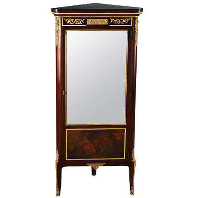 French Antique Ormolu Mounted Louis XVI Style Mahogany Corner Cabinet