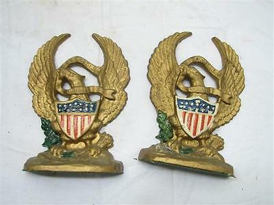 Vintage Hubley Cast Iron US Bald Eagle w/Shield Bookends Door Stop #665 Book End