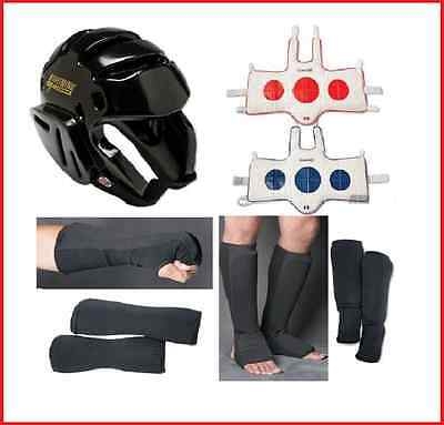 Taekwondo Sparring Gear Set Package Head Fist Forearm Shin Instep Chest Guards