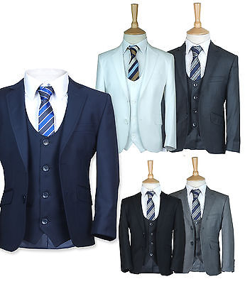 Finest 3Pc Slim Fit Pageboy Suits Boys Communion Wedding Prom Suit 1 To 16 Years