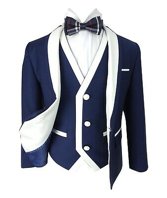Designer Boys Dark Blue Communion Suit 3PC Slim Fit  Wedding Suits Kids Tuxedo