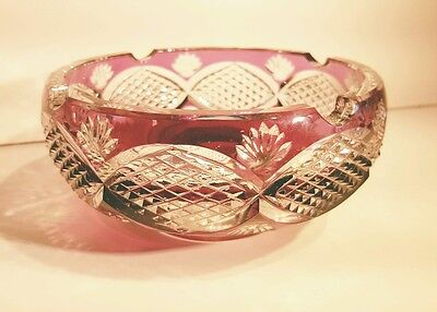 Antique Val St Lambert Plum Amethyst Cut to Clear Lead Crystal Cigar Ashtray EXC