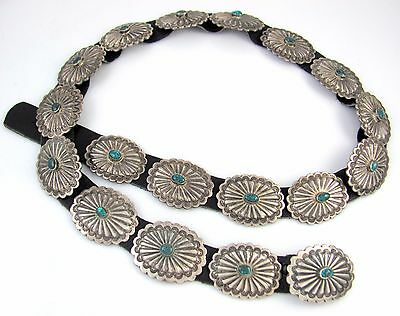 Navajo Handmade Sterling Silver & Lone Mountain Turquoise Concho Belt │RS BIX