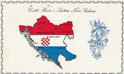 Postcard Croatia Christmas propaganda with map showing Mostar Sarajevo, etc