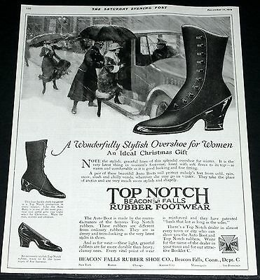 1919 Old Magazine Print Ad, Top Notch Rubber Footwear, An Ideal Christmas Gift!