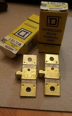 (2) Square D B3.70 Overload Relay Thermal Units New in Box 58738GH