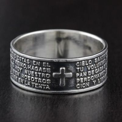 Unisex Solid 925 Sterling Silver Spanish Padre Nuestro Prayer 8mm Band Ring