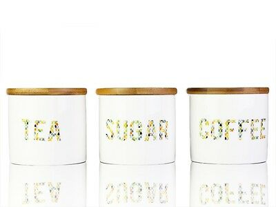 Set of 3PCS Forest 9CM Ceramic Canister Sugar Coffee Tea Container Kitchen