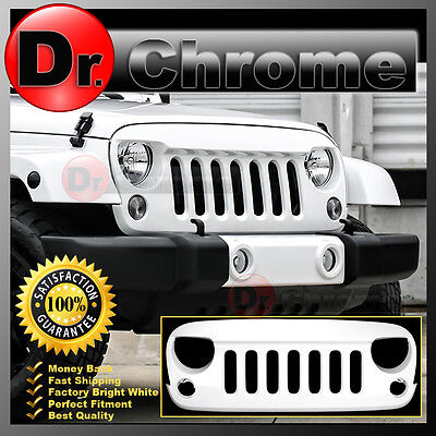 07-16 Jeep JK Wrangler Front Hood Bright White Replacement Grille Shell Rubicon