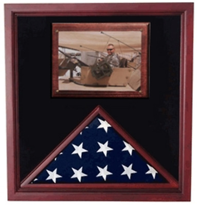 Army Air Corps Flag shadow case, Flag Frame with photo display By Veterans