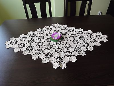 Lovely Floral Vintage Handmade Ecru Cotton Crochet Rhomboid Tablecloth