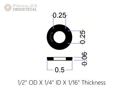 "Neoprene Rubber Washers - 1/2"" OD X 1/4"" ID X 1/16"" Thickness - Endeavor Series"