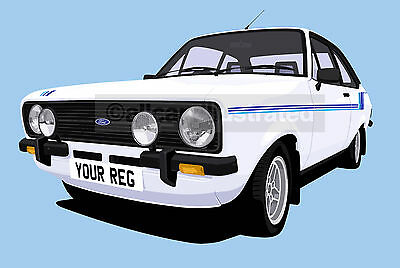 Ford Escort Harrier Car Art Print Picture (Size A3). Personalise It!