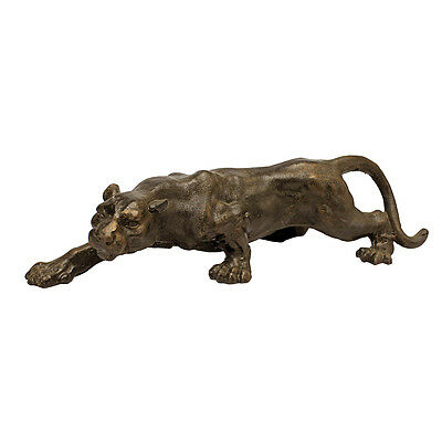 1950's Antique Replica Cast Iron Kitsch Black Panther Prowling Animal Statue