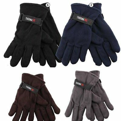 24 Pairs Mens Fleece Gloves Astd Colors Thermal Insulated Winter WHOLESALE LOT