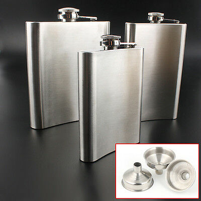 8 10 18 OZ Hip Flask Stainless Steel Whisky Liquor Alcohol Funnel Newly Boxed UK