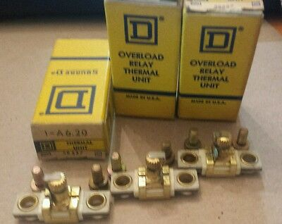 (3) Square D A6.20 Overload Relay Thermal Units New
