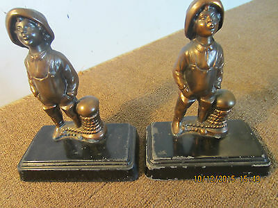 Pr Of Old, Nautical Metal Fisher Boy Bookends